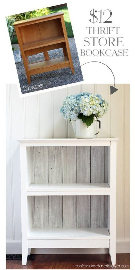 7 Diy Thrift Store Furniture Crafts - Flipping Income Many overlook the great finds at thrift stores that can be flipped. Here are 7 Diy thrift store furniture crafts that you can make and profit from. Thrift Store Furniture, Thrift Store Crafts, Refurbished Furniture, Repurposed Furniture, Shabby Chic Furniture, Furniture Makeover, Thrift Stores, Antique Furniture, Refurbished Bookcase
