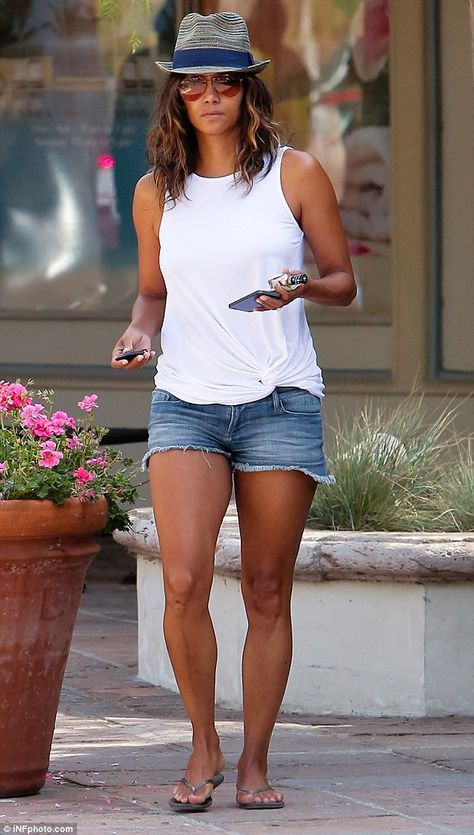 Hot mama! Halle Berry wowed on Sunday in Los Angeles as she stepped out in a pair of denim shorts