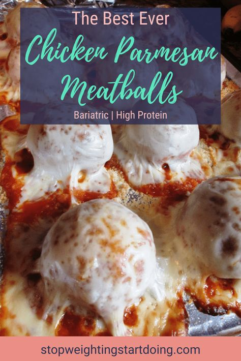 When you're looking to make something quick, easy, delicious and bariatric-friendly, look no further than this chicken parmesan meatballs! High Protein Bariatric Recipes, Bariatric Eating, Bariatric Surgery, Pureed Food Recipes, Diet Recipes, Healthy Recipes, Soft Food Recipes, Health Food Recipes, Skinny Recipes