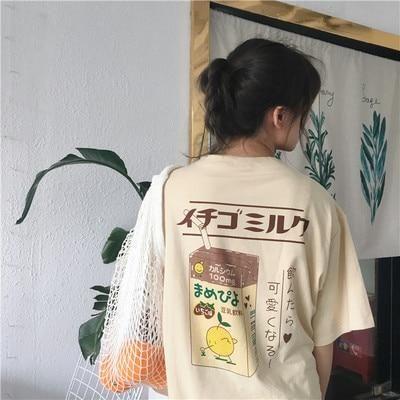 Cute Milk Box T-shirt - apricot / L
