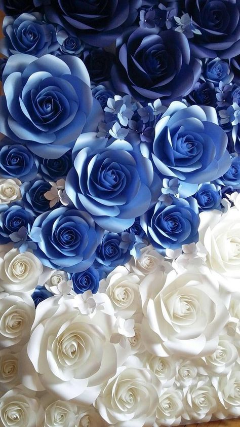 Paper Flower Wall Backdrop - Large Paper Flowers - Bridal Shower Decor - Giant Paper Flowers