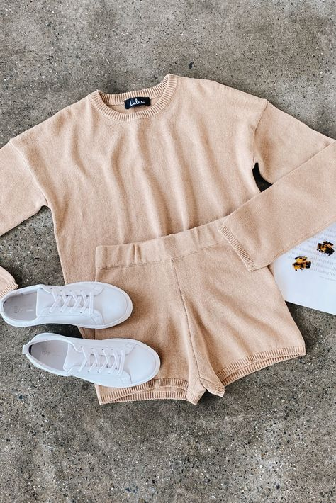 Lulus Exclusive! Say hello to your new loungewear outfit! Slay your chill day when you rock the Lulus Comfy Cozy Tan Knit Sweater Shorts! These adorable shorts have a stretch knit composition and feature a high-waisted cut and a relaxed fit. Pair with the matching sweater and white sneakers for a casual look. #lovelulus