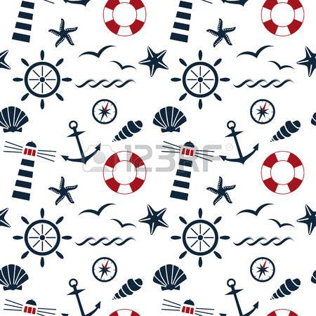 nautical seamless pattern on the white background vector photo