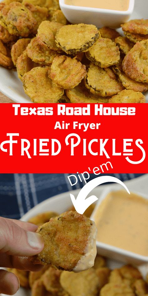 Air Fryer Fried Pickles Texas Road House Copy Cat - Adventures of a Nurse - - Air Fryer Fried Pickles are one of my favorites! This is a Texas Road House Copycat Fried Pickle recipe. To make it even better it is made right in the air fryer. Air Frier Recipes, Air Fryer Oven Recipes, Air Fryer Dinner Recipes, Appetizer Recipes, Air Fryer Recipes Hamburger, Air Fryer Recipes Pickles, Texas Roadhouse, Fried Pickles Recipe, Easy Fried Pickles