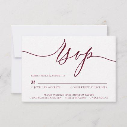 Burgundy Minimal Modern Rsvp Card Zazzle Com Rsvp Simple