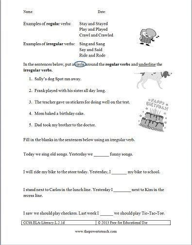 Irregular Verbs Worksheet 2nd Grade Free Irregular Verbs Worksheet For Second Grade Mon Core Irregular Verbs Verb Worksheets 2nd Grade Worksheets Verb tense worksheets 2nd grade
