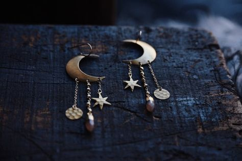 Nightfall A Pair Of Bohemian Crescent Moon Star Gold Pyrite And Pink Moonstone Celestial Earrings Pink Moonstone Sterling Silver Chains Earrings