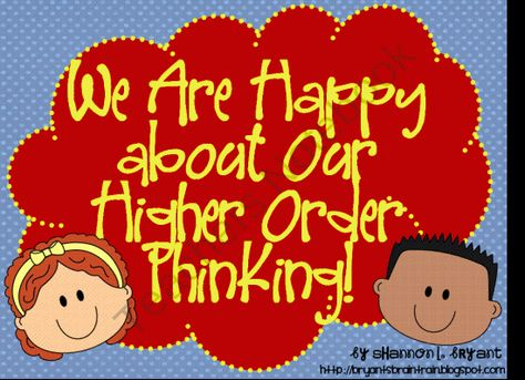 Blooms Taxonomy Posters-Primary Colors (Happy about Our Higher Order Thinking!) from Bryants Brain Train on TeachersNotebook.com (26 pages)  - Great for Display or Posting with Standards! Cute kid-themed posters and handouts in primary colors for use with Blooms Taxonomy from Shannon Bryants Brain Train!