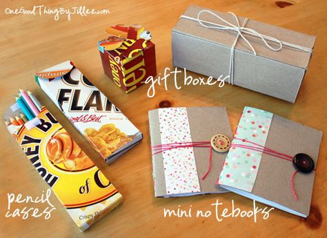 A few cute ways to give new life to those old cereal boxes!