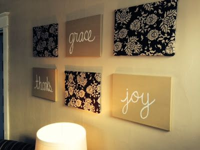 The Rose Girls living room wall art on canvases: 3 fabric covered and 3 painted