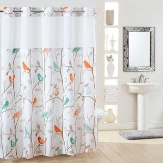 Lush Decor Rowley Birds Shower Curtain In 2020 Hookless Shower Curtain Bird Shower Curtain Shower Curtain