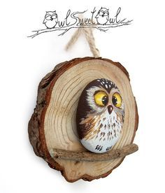 Unique painted rock owl on a wooden trunk. Original gift idea from cute Owl Owl - Baby Stuff and Crafts