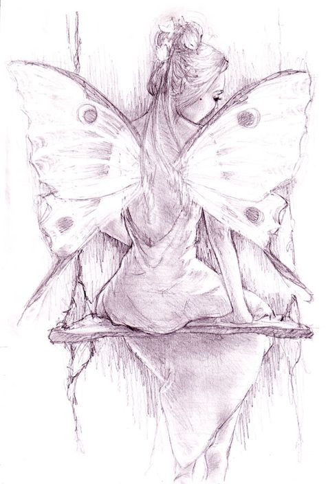 by JennyBunny on DeviantArt - - - - -Swing, swing. by JennyBunny on DeviantArt - - - - - Fairy Moon-Fairy Faery Art -David Delamare Fairy Drawings, Sad Drawings, Pencil Art Drawings, Art Drawings Sketches, Tattoo Drawings, Cat Tattoo, Tattoo Pics, Fantasy Kunst, Fantasy Art