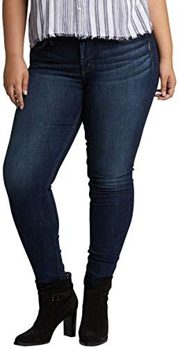 Womens Plus Size Suki Curvy Fit Mid Rise Skinny Jeans Silver Jeans Co