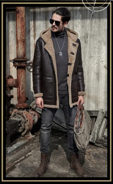 f55fefbd9 Mens Hooded Aviator B3 Sheepskin Shearling Jacket Motorcycle Jacket ...