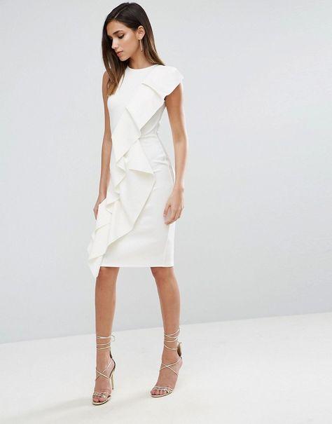 35e2fbaba6 Modern white dress - ASOS Scuba Asymmetric Double Ruffle Front Midi Dress -   ad
