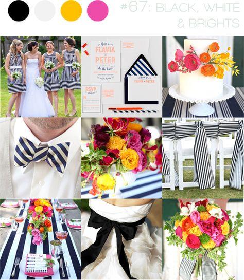 monochrome & brights ~ modern stripes wedding inspiration ~ black, white, pink, orange & yellow