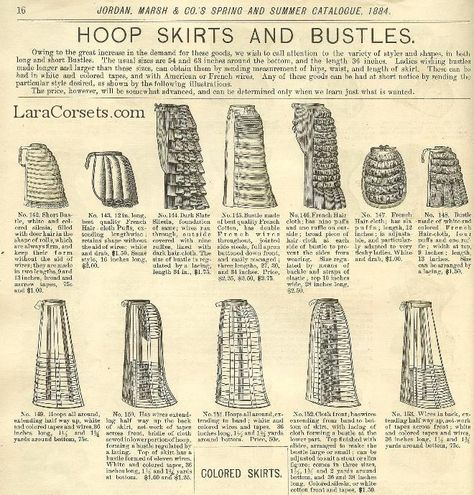 1884 hoop skirts and bustles. The are all here...i only need the pattern!