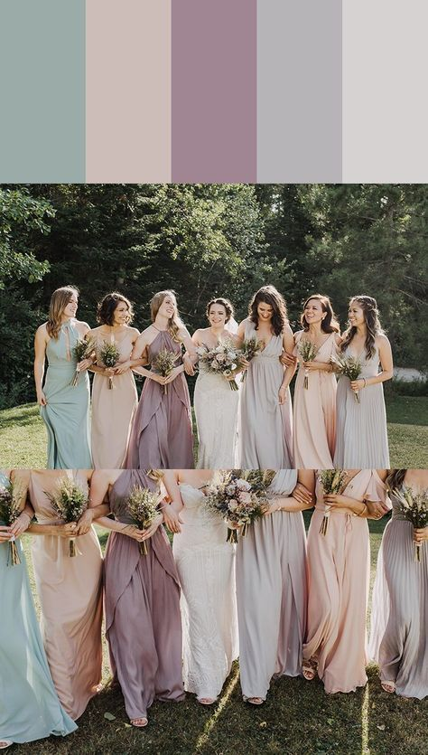 13 Mismatched Bridesmaids Dress Color Palettes to Use Throughout Your Wedding Can't get over how dreamy this pastel bridesmaid palette is!