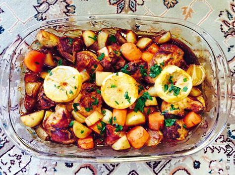 kyckling i ugn med potatis och morötter