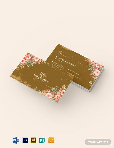 Vintage Floral Business Card Template Word Doc Psd Apple Mac Pages Publisher Illustrator In 2020 Floral Business Cards Card Template Business Card Template