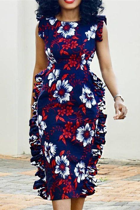 Round Neck Cap Sleeve Print Bodycon Women's Dress