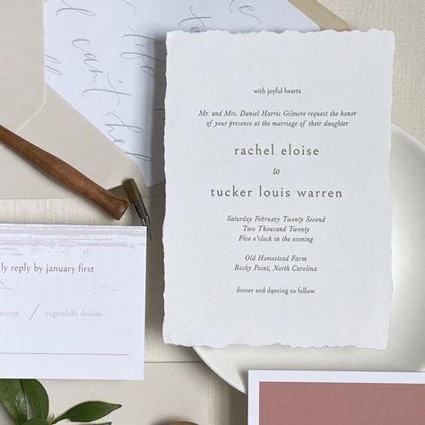 Romantic Letterpress Wedding Invitation