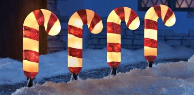 Light Candy Cane Garden Path Light Stakes- Set of 4