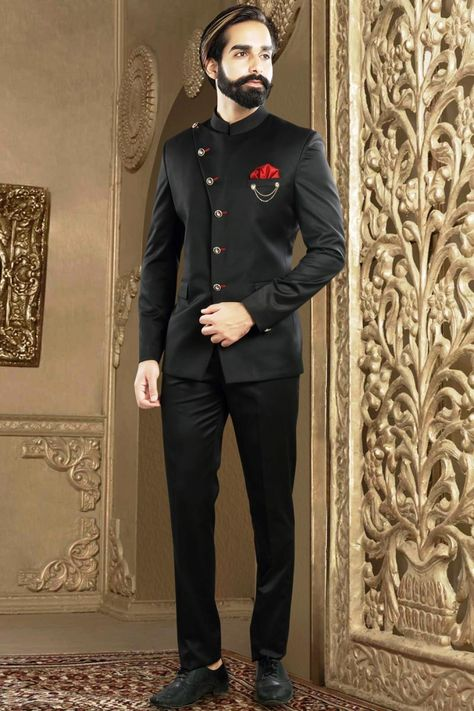 Designer Mens Wear Jodhpuri Suit In Black Rayon