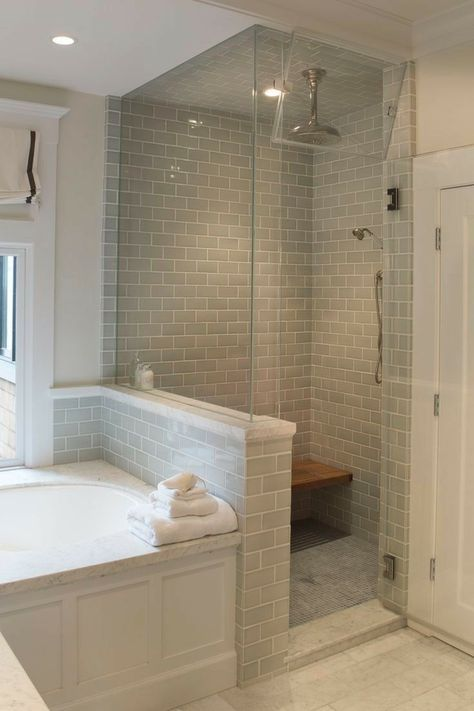 Light Grey Tiled Wall In Shower Traditional Bathroom Walk In