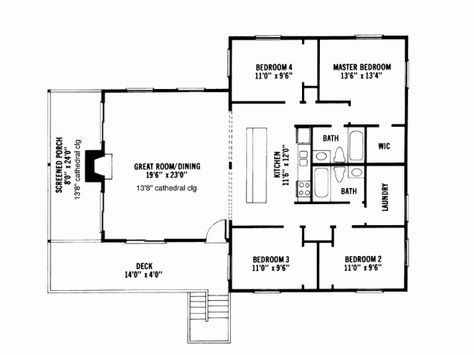 Cabin Style House Plan 4 Beds 2 Baths 1600 Sq Ft Plan 959 4 House Plans Cabin Floor Plans Ranch House Plans