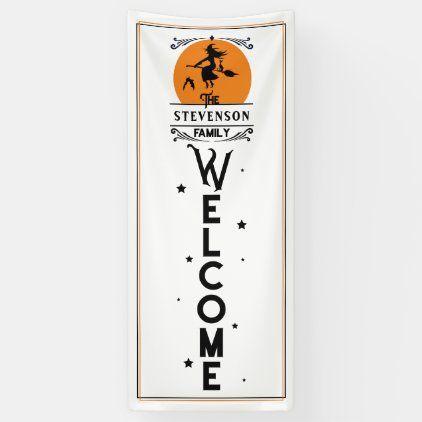 Halloween 2020 Length Halloween Fun   Family Name Door Length Welcome Banner   Zazzle