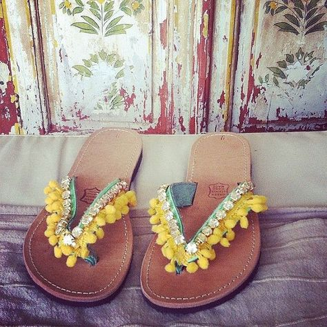 bd4c7477f692 Pom poms Greek Leather sandals - authentic leather handmade sandals ...