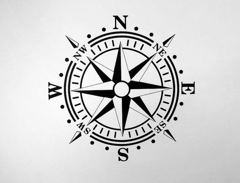Compass Rose Removable Wall Art Vinyl Dinning by AmericanDecals