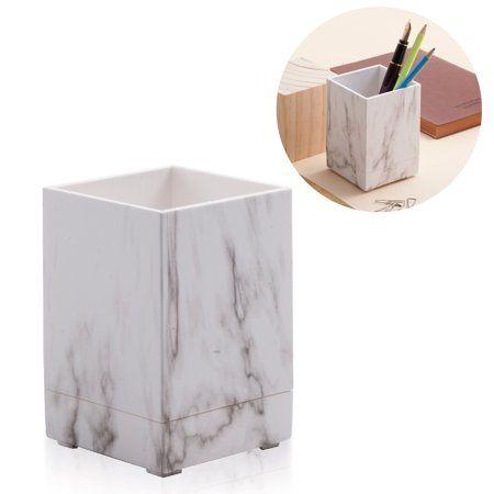 Wood Desk Pen Pencil Cup Holder Case Office Organizer Makeup Brush Container