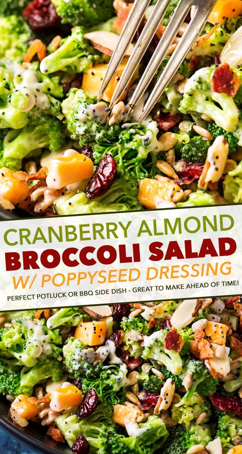 The ultimate broccoli salad is made with crunchy almonds, bacon, sunflower seeds, tart cranberries, and a creamy citrus poppyseed dressing! Perfect make-ahead holiday side dish recipe! salad Ultimate Broccoli Salad Recipe - The Chunky Chef Best Salad Recipes, Chicken Salad Recipes, Vegetarian Recipes, Healthy Recipes, Best Broccoli Salad Recipe, Healthy Broccoli Salad, Broccoli Cranberry Salad, Broccoli Salad With Bacon, Delicious Salad Recipes