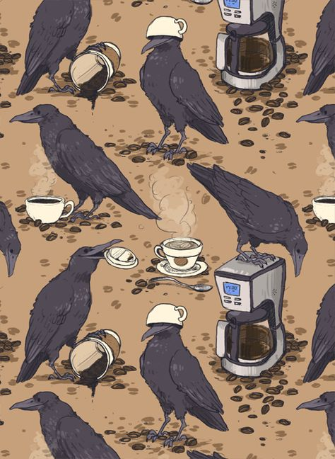 Ravens and coffee / Coffee Art / Coffee Shop Stuff Fotografia Vsco, Crows Ravens, Art Graphique, Cute Art, Art Inspo, Art Reference, Book Art, Art Drawings, Illustration Art