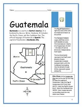Guatemala Printable Handout With Map And Flag Geography