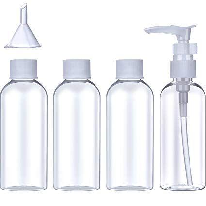 18b487d1e383 Plastic Travel Bottle Set (100 ml) Transparent Flight Toiletries ...