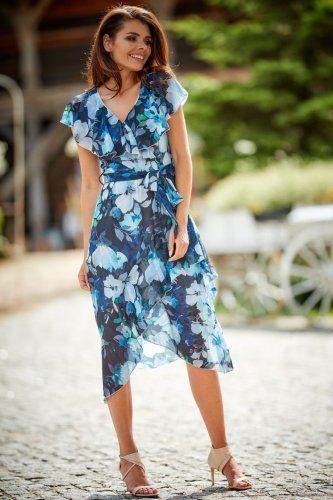 Asymetryczna Sukienka Granatowa W Kwiaty Aw308 Wrap Dress Dresses Summer Dresses