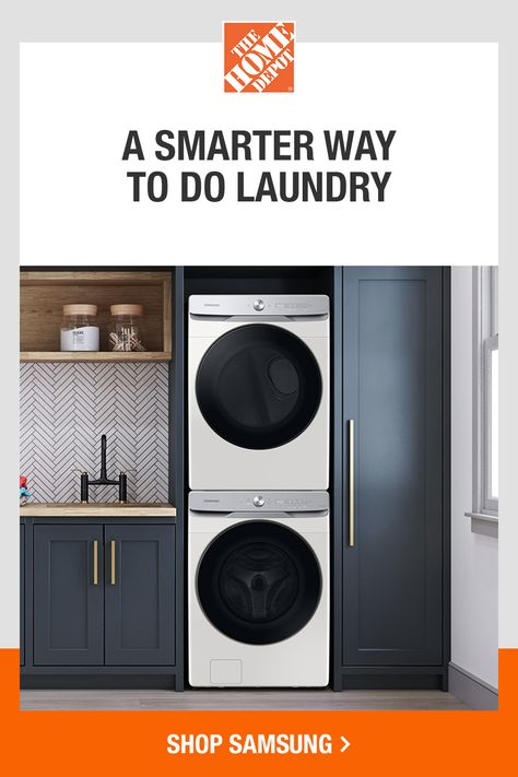 Samsung's intelligent and simple to use Smart Dial learns and suggests your favorite laundry cycles and settings and allows you to customize your cycle list, change the displayed language, and operate the dryer right from the washer when the units are stacked. Tap to shop new Samsung laundry at The Home Depot.