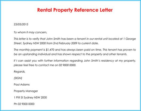 Rental Reference Letter 9 Sample Letters Formats And Examples