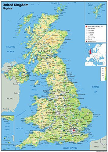 From 11 95 United Kingdom Uk Wall Map Physical 59 4 X 84 1