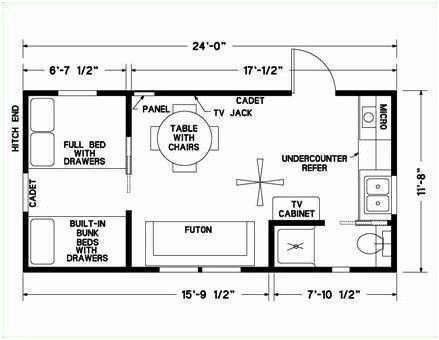 12x24 Tiny House Guest House Small Cabin Floor Plans Guest House Plans