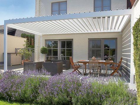 Lagune®, Algarve® et Camargue® : terrasse protégée avec toile ou lames en alu - RENSON Sunprotection - Livios