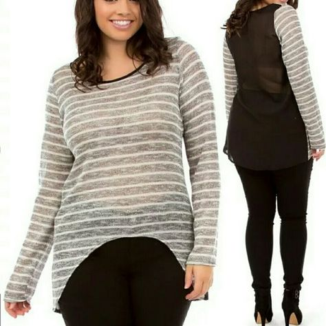 2cbc8dd43ce9c Plus size sheer mesh long sleeves top tunic blouse Plus size Light weight  Sheer