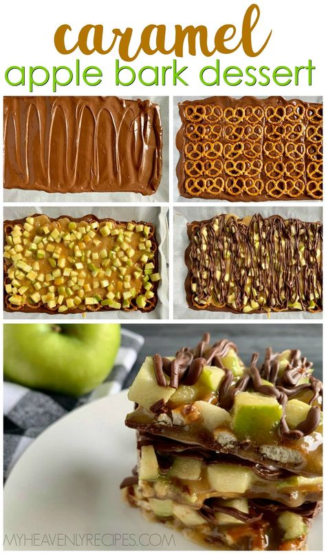 Caramel Apple Bark Recipe- Fresh fall dessert idea that is so easy to make! Green apples and pretzels make a sweet and salty treat. Simple chocolate caramel apple bark dessert idea. Dessert Simple, Bon Dessert, Fall Dessert Recipes, Köstliche Desserts, Fall Recipes, Holiday Recipes, Quick Dessert, Dessert Healthy, Simple Apple Recipes