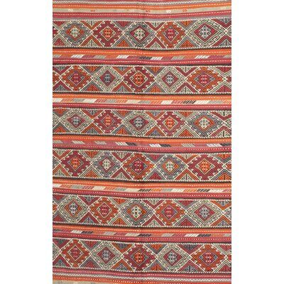East Urban Home Contemporary Red Orange Green Area Rug Rug Size