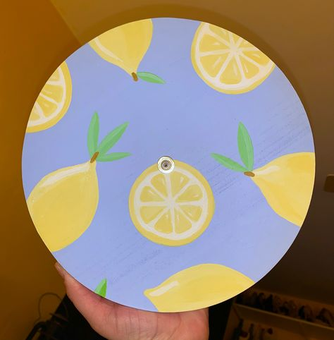 Lemon Print Clock by Klocks by Kirby on Etsy. Cute Canvas Paintings, Easy Canvas Art, Small Canvas Art, Mini Canvas Art, Diy Canvas, Cd Wall Art, Record Wall Art, Cd Art, Art Mini Toile