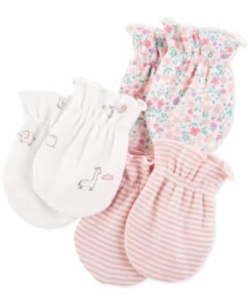 BABY GIRL LEOPARD PRINT BOW WHITE COTTON SCRATCH MITTENS GIFT NEWBORN